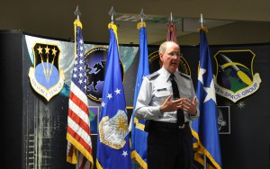 SCHRIEVER AIR FORCE BASE, Colo. – Gen. C. Robert Kehler, Air Force Space Command commander, briefs the men and women of the Space Innovation and Development Center. (Photo credit: Dan Santistevan)