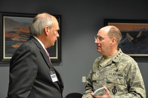 General C. Robert Kehler and General Lance W. Lord, retired, at the Senior Leadership Seminar in Washington, DC for Schriever Wargame 2010. (Photo by Dan Santistevan, SIDC Visualization Lab)
